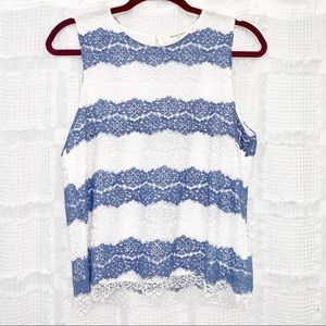Sophie Rue blue and white lace top M